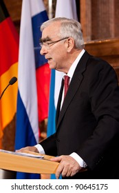 MUNICH - DECEMBER 10: Laudator Theodor Waigel, Ex finance Minister of Germany, speaks at the Award for the Franz-Josef Strauss Prize for Mikhail Gorbachev in Munich, Germany on December 10, 2011.