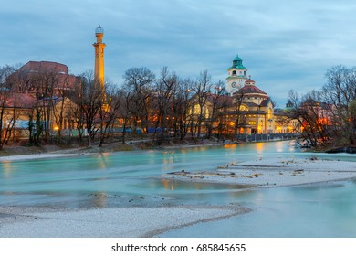 Munich. Embankment of the Isar.