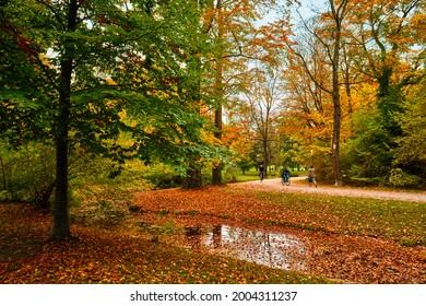 Munich English garden Englischer garten park. Autumn colours on trees and leaves and flowing river. Munchen, Bavaria, Germany - Shutterstock ID 2004311237