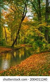 Munich English garden Englischer garten park. Autumn colours on trees and leaves and flowing river. Munchen, Bavaria, Germany - Shutterstock ID 2004311240