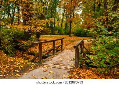 Munich English garden Englischer garten park. Autumn colours on trees and leaves and old wooden bridge over stream. Munchen, Bavaria, Germany - Shutterstock ID 2012890733