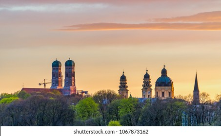 Munich Frauenkirche during beautiful sunset in summer