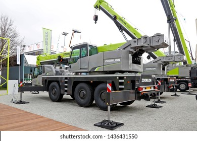 Munich, German - April 9, 2019: Auto crane Zoomlion ATC 980 at bauma 2019 in Munich