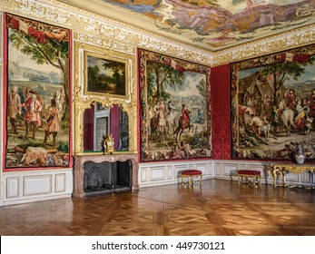 MUNICH, GERMANY - 05 MAY 2016: Luxury interior of Antechamber in the Electors Apartment in Schleissheim Schloss. The tapestries, in splendid colours and with attention to detail, depict war episodes