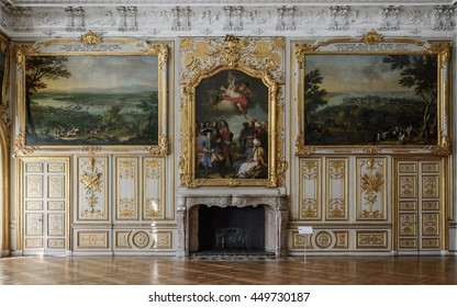 MUNICH, GERMANY - 05 MAY 2016: Luxury interior of Victory Hall in Schleissheim Schloss. Its served as a dining hall, was decorated with numerous motifs honouring the patron (French Regency style)