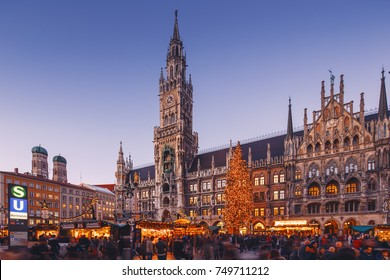 MUNICH, GERMANY - 08 Dec 2015: - Christmas fair in the Marienplatz on 08 Dec 2015, in Munich, Germany