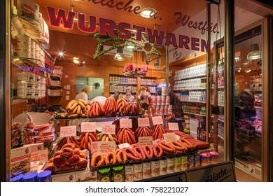 MUNICH, GERMANY - 08 Dec 2015: - Wurstwaren sausage shop on 08 Dec 2015, in Munich, Germany