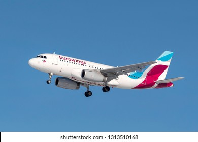 Munich, Germany - 08. February 2019 : Eurowings Airbus A319-132 with the aircraft registration OE-LYZ in the approach to the northern runway of the Munich airport MUC EDDM