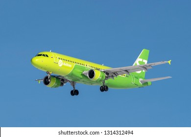 Munich, Germany - 08. February 2019 : S7 Airlines Airbus A320-214 with the aircraft registration VP-BCZ in the approach to the northern runway of the Munich airport MUC EDDM