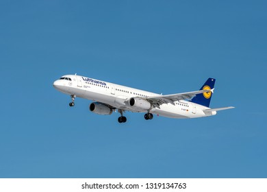 Munich, Germany - 08. February 2019 : Lufthansa Airbus A321-231 with the aircraft registration D-AISF in the approach to the northern runway of the Munich airport MUC EDDM