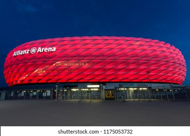 Munich. Germany. 08.03.16. Allianz Arena football stadium in Munich, Bavaria, with a 75,000 seating capacity, Home ground for 2 professional football clubs FC Bayern Munich and TSV 1860 Munich.