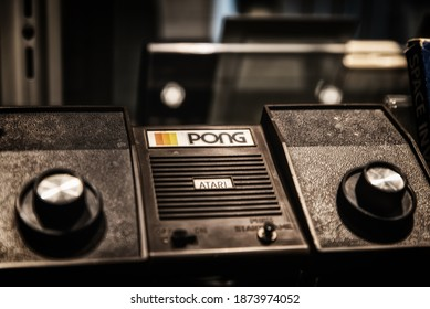 """Munich, Germany - 1 August 2019: Vintage videogame system """"Pong"""" from Atari on display during a exhibition about the history of video games"""
