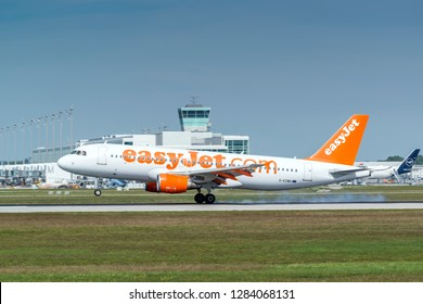 Munich, Germany - 11. September 2018 : easyJet Airbus A320-200 with the registration G-EZWD, is landing on the southern runway at the Munich airport MUC EDDM