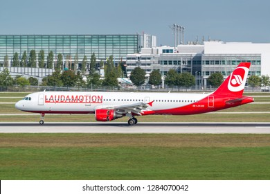 Munich, Germany - 11. September 2018 : Laudamotion Airbus A321-211 with the registration OE-LCK, is landing on the southern runway at the Munich airport MUC EDDM