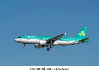 Munich, Germany - 12. September 2018 : Aer Lingus Airbus A320-214 with the registration EI-DVL in the approach to the northern runway at the Munich airport MUC EDDM