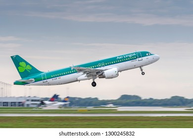 Munich, Germany - 13. September 2018 : Aer Lingus Airbus A320-214 with the registration EI-EDP starts on the northern runway, at the Munich airport MUC EDDM