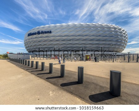 MUNICH, GERMANY - 14 AUGUST 2017: Entrance to Allianz Arena stadium square Munich, Germany. The Allianz Arena is the home football stadium for FC Bayern Munich with a capacity of 70.000 seats
