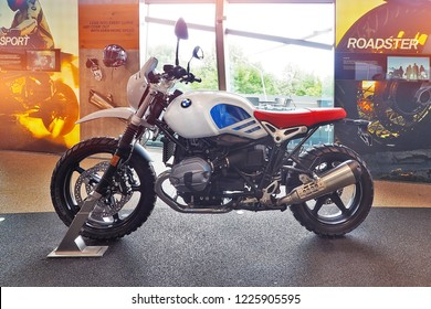 Munich, Germany - 14 JUNE 2018: Motorbike bigbike BMW brand exhibition display inside BMW museum in Munich City Germany