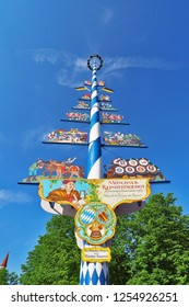 Munich, Germany - 15 JUNE 2018: Bavarian Maypole the food market pole sign at Viktualienmarkt in Munich City Germany