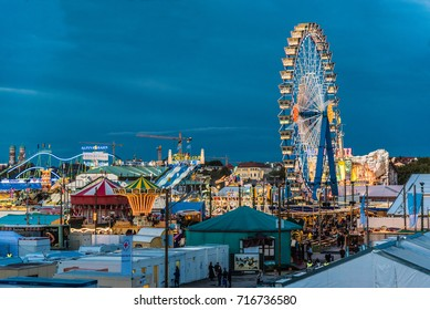 MUNICH, GERMANY - 16 OCTOBER 2017: View of Oktoberfest in the evening