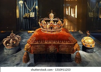 Munich Germany - 17 JUNE 2018: Luxury grand Royal Crown display inside The Residenz Museum in Munich Germany