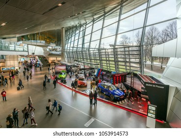 MUNICH, GERMANY - 17 MARCH, 2018: Interior Space of BMW Welt, a multi-functional customer experience and exhibition facility of the BMW. It is designed by COOP HIMMELB(L)AU.