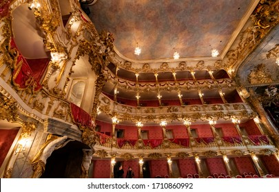 MUNICH, GERMANY - 17 MARCH 2018: Beautiful interior of Old Residence Theatre in Munich. It is the former royal opera house of the Bavarian monarchs in Munich city center.