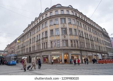 Munich, Germany - 19 April 2017 : People walking on the street in Munich
