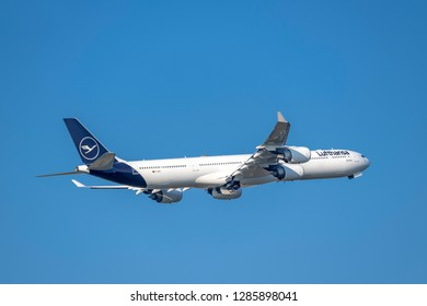 Munich, Germany - 22. October 2018 : Lufthansa Airbus A340-642 with the registration D-AIHI, after take-off on the southern runway of the Munich airport MUC EDDM in flight situation