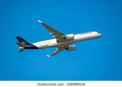 Munich, Germany - 22. October 2018 : Lufthansa Airbus A350-941 Erfurt with the registration D-AIXJ, after take-off on the southern runway of the Munich airport MUC EDDM in flight situation