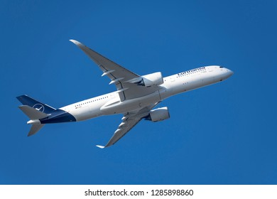 Munich, Germany - 22. October 2018 : Lufthansa Airbus A350-941 Dortmund with the registration D-AIXI, after take-off on the southern runway of the Munich airport MUC EDDM in flight situation