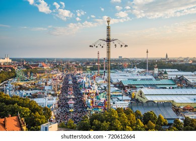 MUNICH, GERMANY - 22 SEPTEMBER 2017: Aerial view of Oktoberfest from St. Paul Cathedral