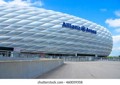 MUNICH, GERMANY - 24 MAY 2016: Allianz Arena stadium designed by architects Herzog & de Meuron in Munich, Germany.