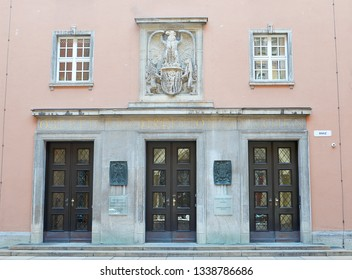 MUNICH, GERMANY - 25 FEBRUARY 2019:  The Bavarian State Tax Office which the NSDAP built between 1938 and 1941 as the Oberfinanzdirektion (finance headquarters).
