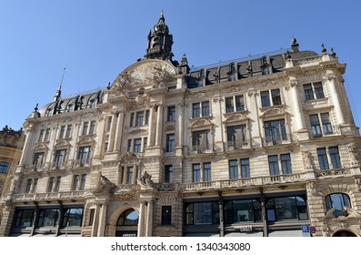 MUNICH, GERMANY - 25 FEBRUARY 2019: Bernheimer House (or Palace), built in Lenbach in neo-baroque style in 1888 by Friedrich von Thiersch.  Now shops and apartments.