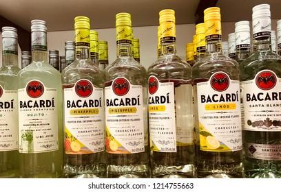 "Munich, Germany. 25 October 2018.Various "" Bacardi "" bottles on the shelf."