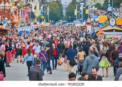 MUNICH, GERMANY - 25 SEPTEMBER 2014: Oktoberfest,Bavaria, Munich, People at the Oktoberfest,The Oktoberfest is the biggest beer festival