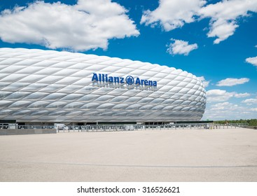 MUNICH, GERMANY - 31 JULY 2015: Allianz Arena stadium in sunny day in Munich, Germany. The Allianz Arena is home football stadium for FC Bayern Munich with a 69,901 seating capacity.