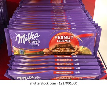 Munich, Germany. 31 October 2018. Milka chocolates with peanut caramel