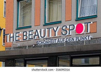 MUNICH, GERMANY - 4 AUGUST 2015: Advertising of The Beauty Spot store - company selling cosmetics.