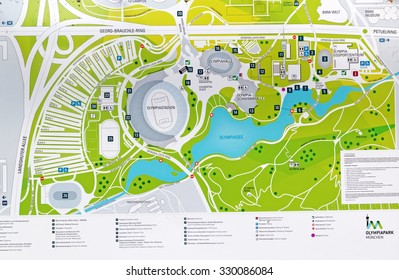 MUNICH, GERMANY - 4 AUGUST 2015: Map of the Olympic park in Munich, Germany
