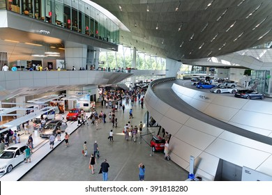 MUNICH, GERMANY - 4 AUGUST, 2015: Interior Space of BMW Welt, a multi-functional customer experience and exhibition facility of the BMW. It is designed by COOP HIMMELB(L)AU.