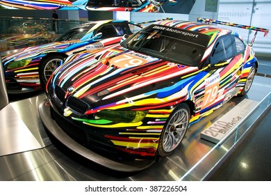 MUNICH, GERMANY - 5 MARCH 2016: The BMW model 3 art car presented at BMW Museum in Munich, Germany.