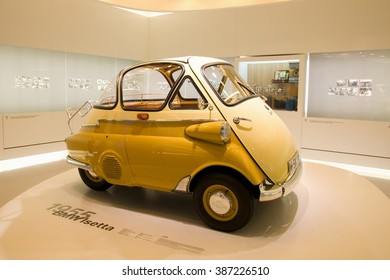 MUNICH, GERMANY - 5 MARCH 2016: The BMW Isetta presented at BMW Museum in Munich, Germany.