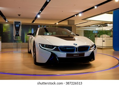 MUNICH, GERMANY - 5 MARCH 2016: The BMW i8 presented at BMW Welt showroom in Munich, Germany.