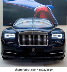 MUNICH, GERMANY - 5 MARCH 2016: The Rolls-Royce Dawn presented at BMW Welt showroom in Munich, Germany.