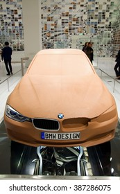 MUNICH, GERMANY - 5 MARCH 2016: The BMW  presented preparation of model 3 at BMW Museum in Munich, Germany.