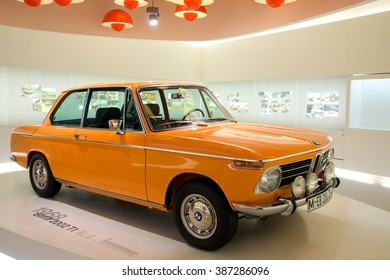 MUNICH, GERMANY - 5 MARCH 2016: The BMW  2002 TI presented at BMW Museum in Munich, Germany.