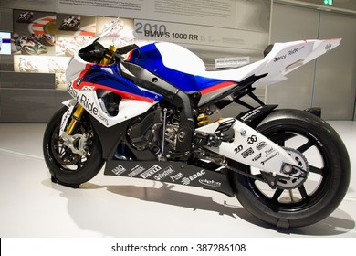 MUNICH, GERMANY - 5 MARCH 2016: The BMW S 1000 RR presented at BMW Museum in Munich, Germany.