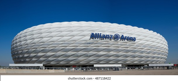 MUNICH, GERMANY - 9 SEPTEMBER 2016: Allianz Arena stadium in Munich, Germany. The Allianz Arena is home football stadium for FC Bayern Munich with a 69,901 seating capacity.